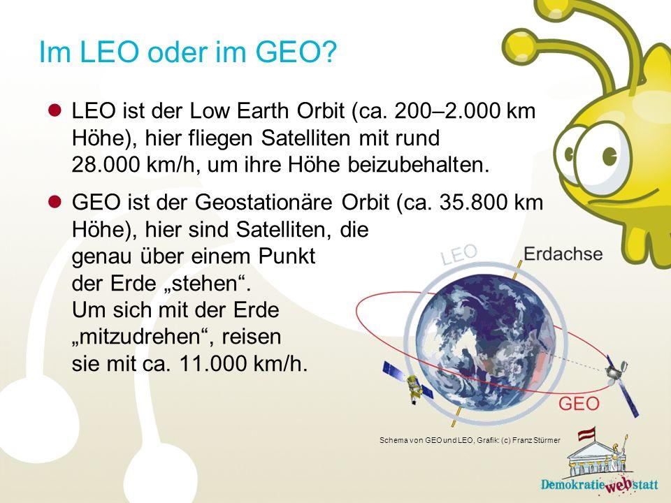 LEO ist der Low Earth Orbit (ca.
