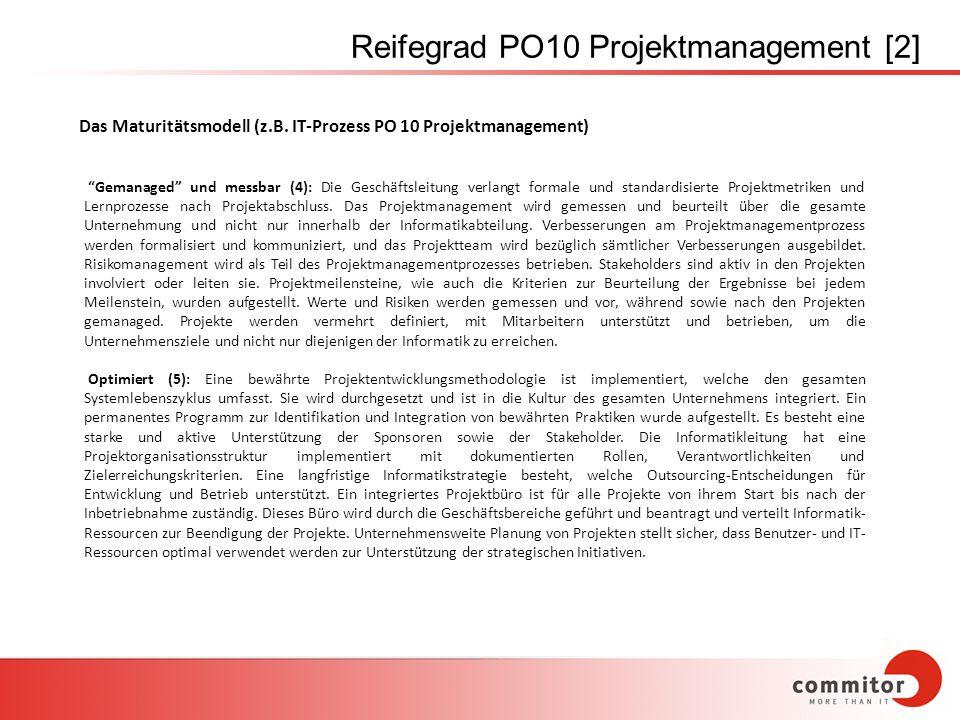 Reifegrad PO10 Projektmanagement [2] Gemanaged und messbar (4): Die Geschäftsleitung verlangt formale und standardisierte Projektmetriken und Lernproz