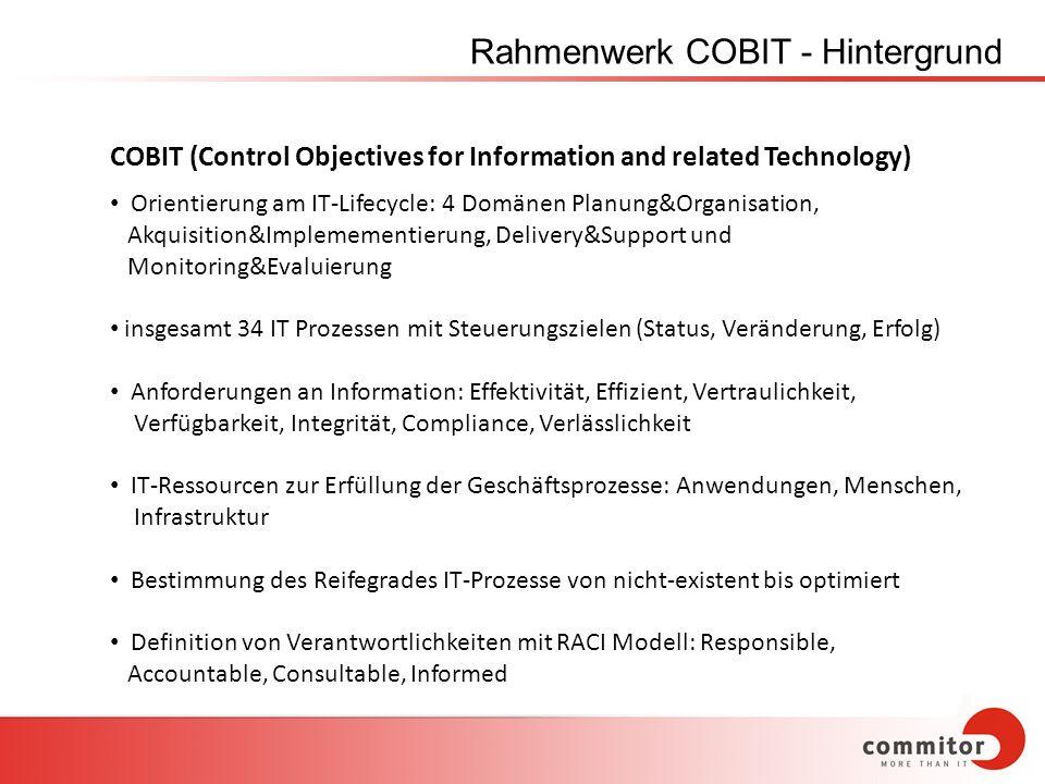 Rahmenwerk COBIT - Hintergrund COBIT (Control Objectives for Information and related Technology) Orientierung am IT-Lifecycle: 4 Domänen Planung&Organ