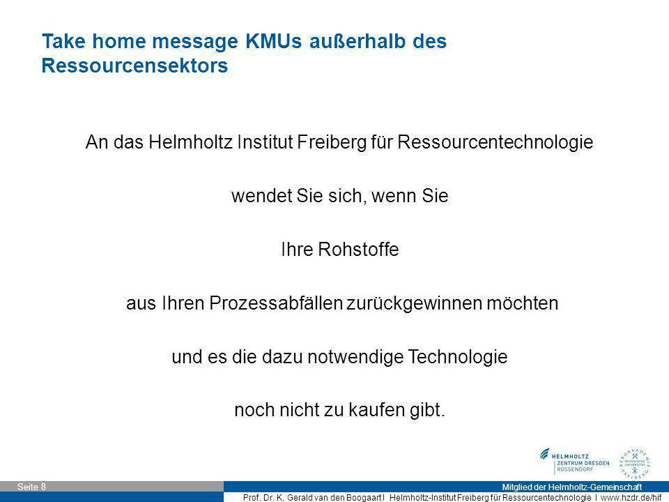 Mitglied der Helmholtz-Gemeinschaft Seite 8 Prof. Dr. K. Gerald van den Boogaart I Helmholtz-Institut Freiberg für Ressourcentechnologie I www.hzdr.de