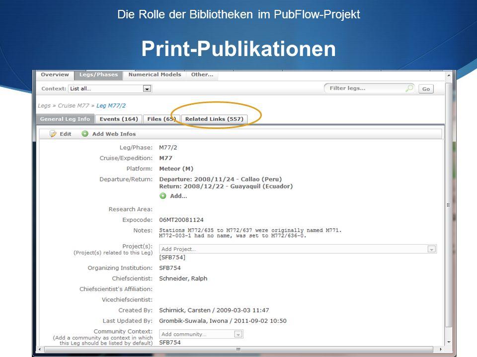 Die Rolle der Bibliotheken im PubFlow-Projekt Daten-Publikationen Wie wird gesucht.