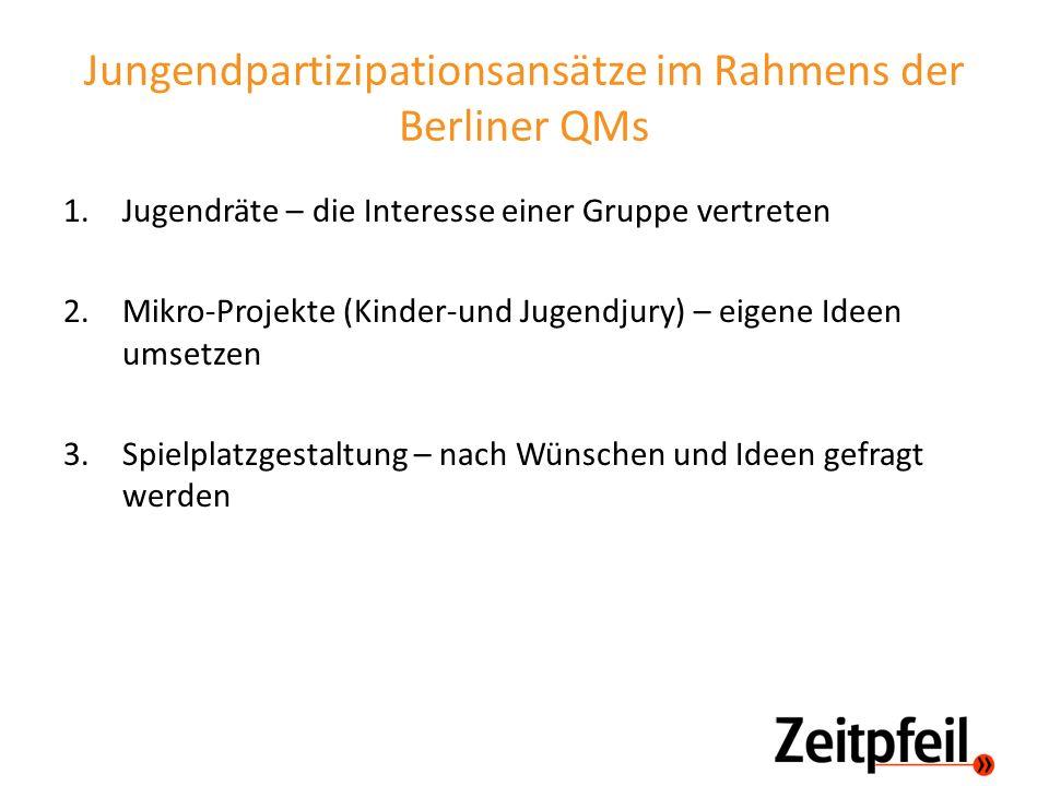 Jungendpartizipationsansätze im Rahmens der Berliner QMs 1.Jugendräte – die Interesse einer Gruppe vertreten 2.Mikro-Projekte (Kinder-und Jugendjury)