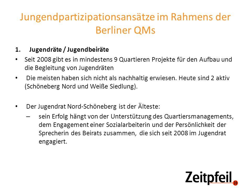 Jungendpartizipationsansätze im Rahmens der Berliner QMs 1.Jugendräte / Jugendbeiräte Seit 2008 gibt es in mindestens 9 Quartieren Projekte für den Au