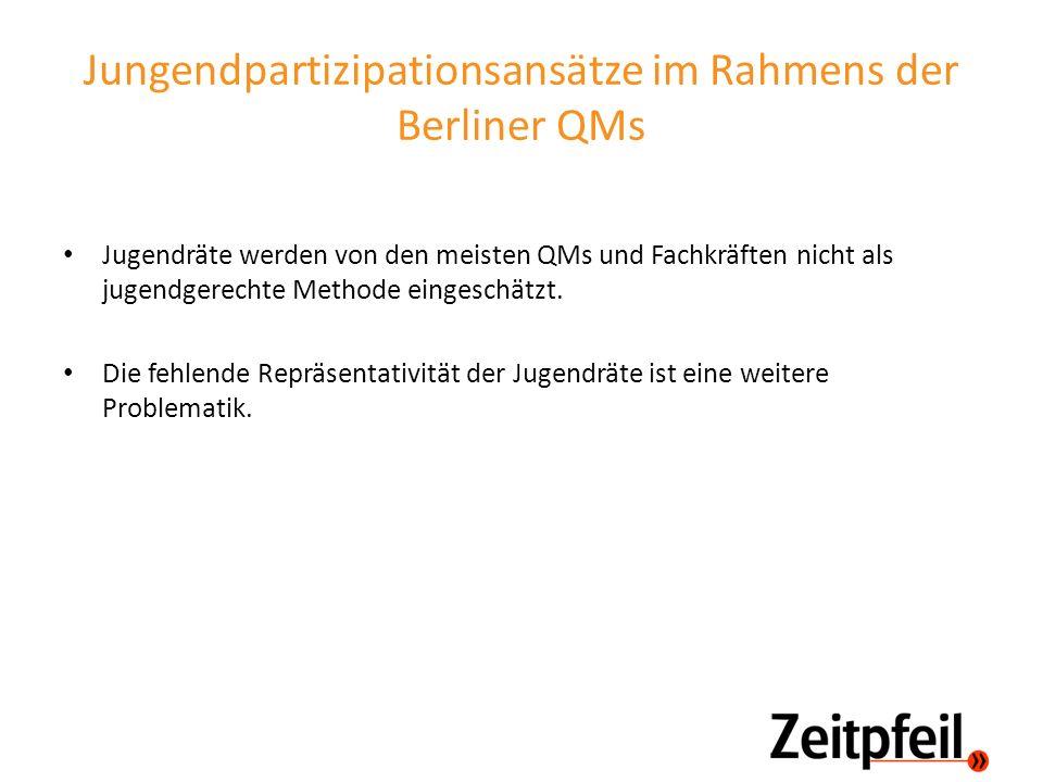 Jungendpartizipationsansätze im Rahmens der Berliner QMs Jugendräte werden von den meisten QMs und Fachkräften nicht als jugendgerechte Methode einges