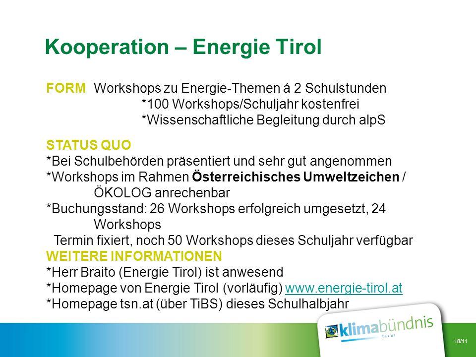 18/11 FORMWorkshops zu Energie-Themen á 2 Schulstunden *100 Workshops/Schuljahr kostenfrei *Wissenschaftliche Begleitung durch alpS STATUS QUO *Bei Sc