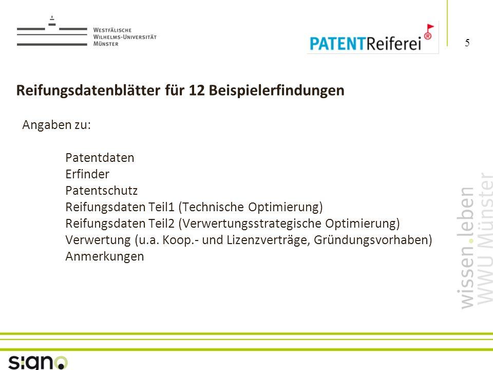 Susanne Föhse 5 Titel der Präsentation Reifungsdatenblätter für 12 Beispielerfindungen Angaben zu: Patentdaten Erfinder Patentschutz Reifungsdaten Teil1 (Technische Optimierung) Reifungsdaten Teil2 (Verwertungsstrategische Optimierung) Verwertung (u.a.