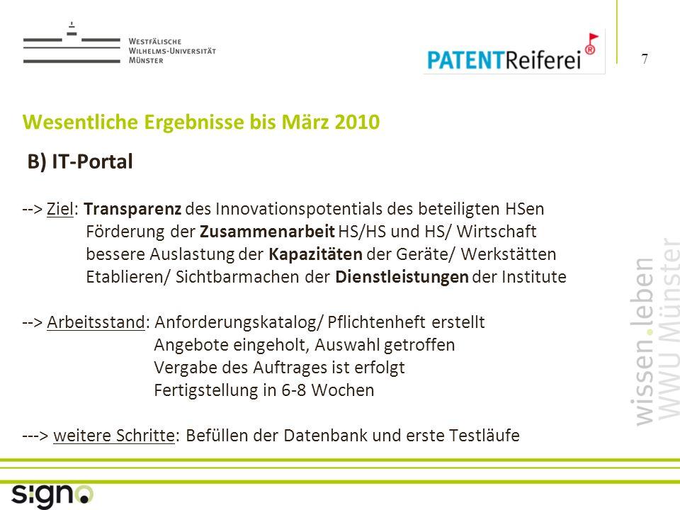 Susanne Föhse 8 Titel der Präsentation Wesentliche Ergebnisse bis März 2010 C) Patent-Mining – eintägiger Kreativworkshop -> Umwandlung von trägem in aktivierendes Wissen