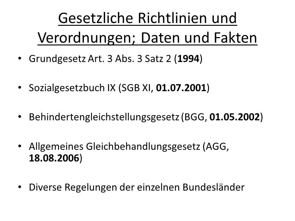 Gesetzliche Richtlinien und Verordnungen; Daten und Fakten § 9 BGG - Recht auf Verwendung von Gebärdensprache und anderen Kommunikationshilfen - Kommunikationshilfenverordnung (KHV), 24.07.2002 § 10 BGG – Bestimmungen zur Gestaltung von Bescheiden und Vordrucken – Verordnung über barrierefreie Dokumente in der Bundesverwaltung (VBD), 27.4.2002 § 11 - Bestimmungen für eine barrierefreie Informationstechnik – Barrierefreie Informationstechnik- Verordnung (BITV), 24.07.2002 und Neufassung am 22.09.2011
