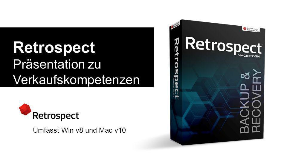 Retrospect Präsentation zu Verkaufskompetenzen und technischen Fachkenntnissen Umfasst Win v8 und Mac v10