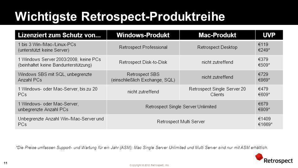 Copyright ® 2012 Retrospect, Inc. Wichtigste Retrospect-Produktreihe Lizenziert zum Schutz von...Windows-ProduktMac-ProduktUVP 1 bis 3 Win-/Mac-/Linux