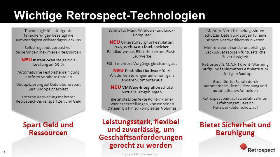 Copyright ® 2012 Retrospect, Inc. Wichtige Retrospect-Technologien Spart Geld und Ressourcen Leistungsstark, flexibel und zuverlässig, um Geschäftsanf
