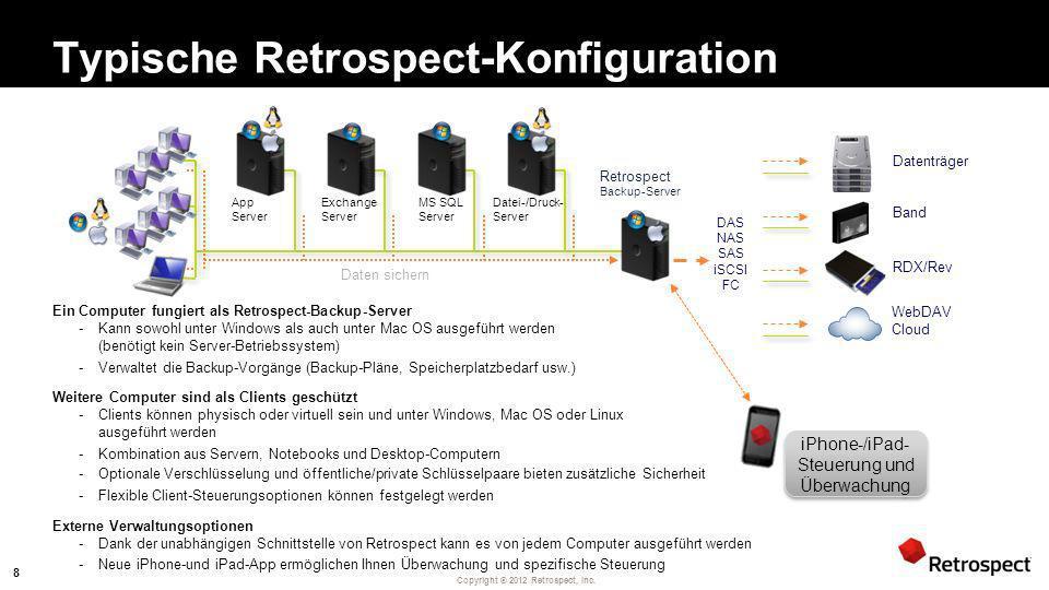 Copyright ® 2012 Retrospect, Inc. Typische Retrospect-Konfiguration Ein Computer fungiert als Retrospect-Backup-Server -Kann sowohl unter Windows als