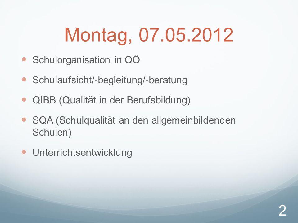 Montag, 07.05.2012 Schulorganisation in OÖ Schulaufsicht/-begleitung/-beratung QIBB (Qualität in der Berufsbildung) SQA (Schulqualität an den allgemeinbildenden Schulen) Unterrichtsentwicklung 2