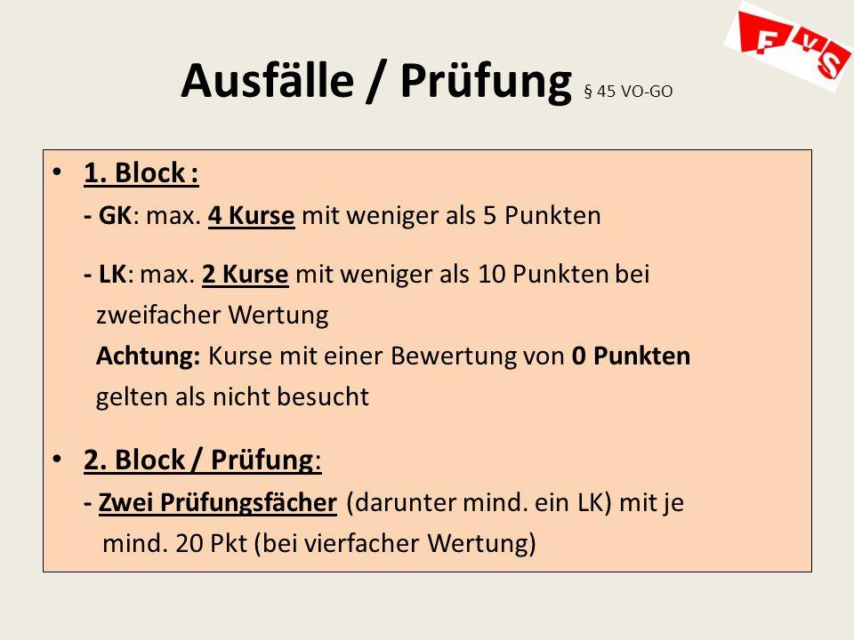 Ausfälle / Prüfung § 45 VO-GO 1.Block : - GK: max.
