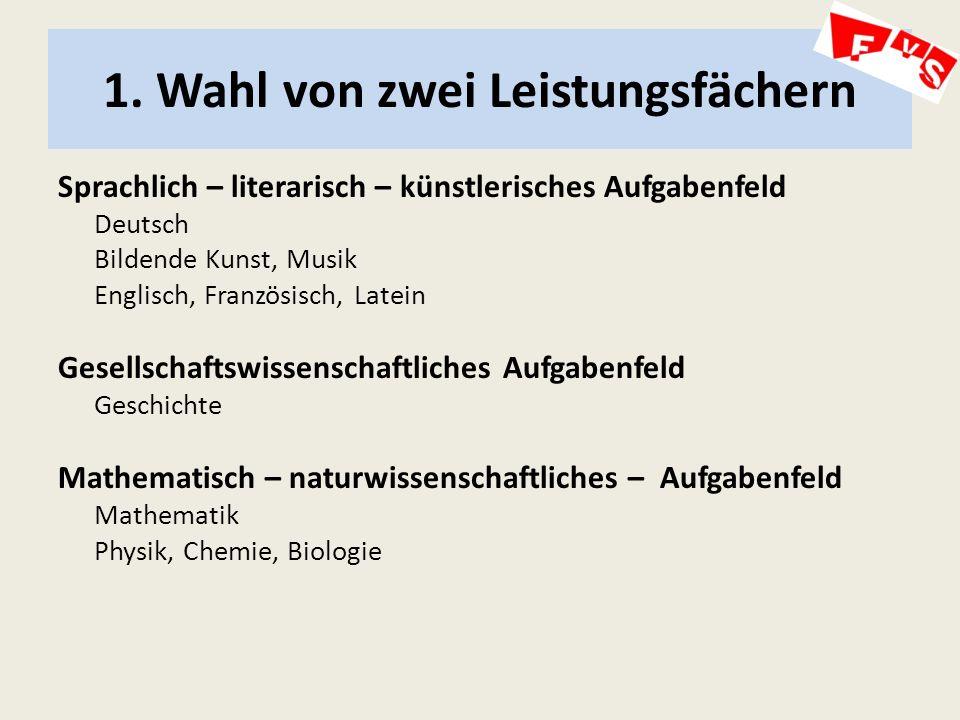1. Wahl von zwei Leistungsfächern Sprachlich – literarisch – künstlerisches Aufgabenfeld Deutsch Bildende Kunst, Musik Englisch, Französisch, Latein G