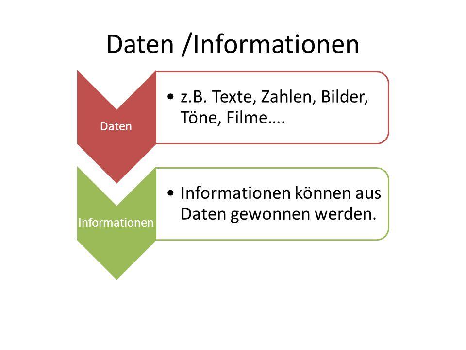 Daten /Informationen Daten z.B.Texte, Zahlen, Bilder, Töne, Filme….