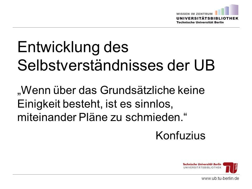 www.ub.tu-berlin.de Entwicklung des Selbstverständnisses der UB Wenn über das Grundsätzliche keine Einigkeit besteht, ist es sinnlos, miteinander Plän