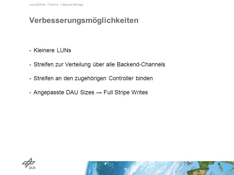 www.DLR.de Folie 14> Stephan Schropp Verbesserungsmöglichkeiten -Kleinere LUNs -Streifen zur Verteilung über alle Backend-Channels -Streifen an den zugehörigen Controller binden -Angepasste DAU Sizes Full Stripe Writes