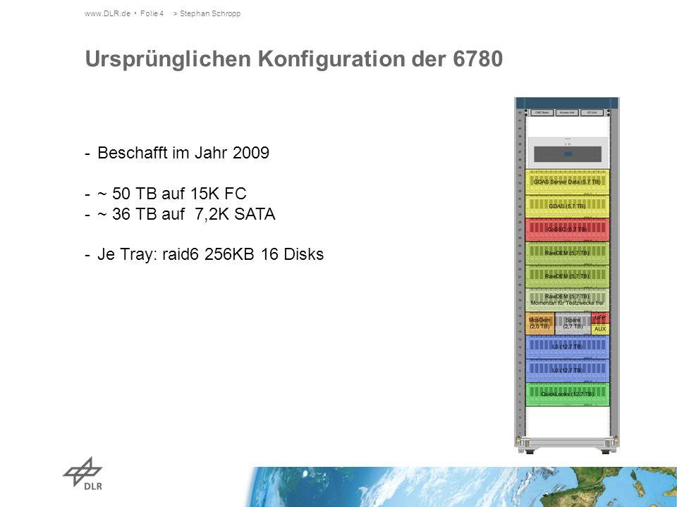 www.DLR.de Folie 4> Stephan Schropp Ursprünglichen Konfiguration der 6780 -Beschafft im Jahr 2009 -~ 50 TB auf 15K FC -~ 36 TB auf 7,2K SATA -Je Tray: raid6 256KB 16 Disks
