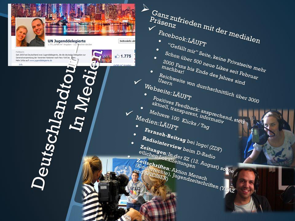 Deutschlandtour – In Medien Ganz zufrieden mit der medialen Präsenz Ganz zufrieden mit der medialen Präsenz Facebook: LÄUFT Facebook: LÄUFT Gefällt mi
