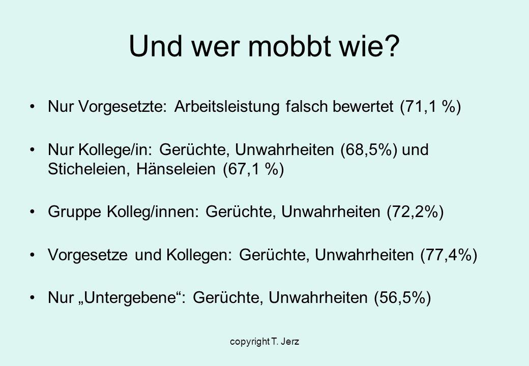 copyright T. Jerz Und wer mobbt wie? Nur Vorgesetzte: Arbeitsleistung falsch bewertet (71,1 %) Nur Kollege/in: Gerüchte, Unwahrheiten (68,5%) und Stic