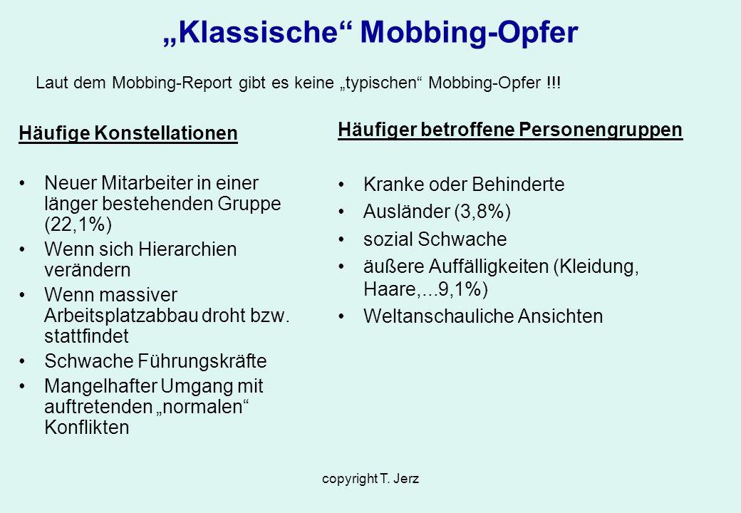 copyright T. Jerz Klassische Mobbing-Opfer Häufige Konstellationen Neuer Mitarbeiter in einer länger bestehenden Gruppe (22,1%) Wenn sich Hierarchien