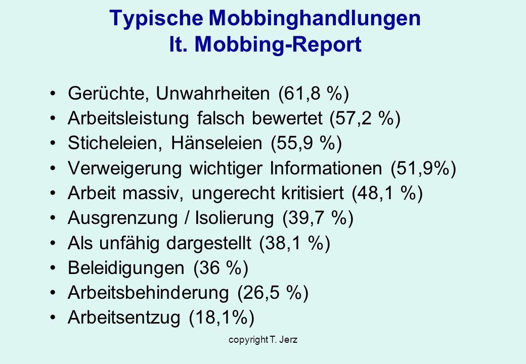 copyright T. Jerz Typische Mobbinghandlungen lt. Mobbing-Report Gerüchte, Unwahrheiten (61,8 %) Arbeitsleistung falsch bewertet (57,2 %) Sticheleien,