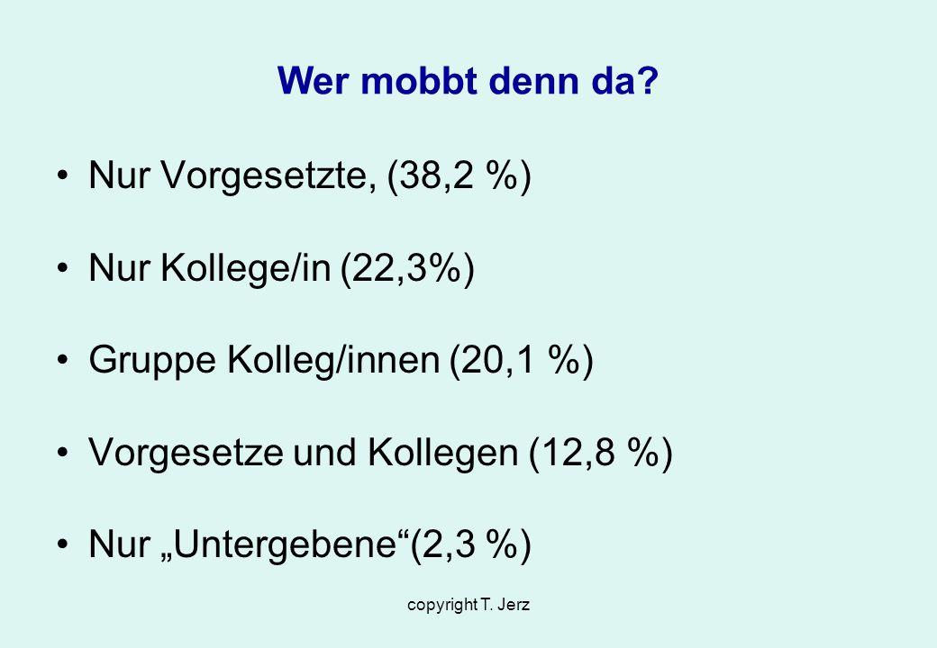 copyright T. Jerz Wer mobbt denn da? Nur Vorgesetzte, (38,2 %) Nur Kollege/in (22,3%) Gruppe Kolleg/innen (20,1 %) Vorgesetze und Kollegen (12,8 %) Nu