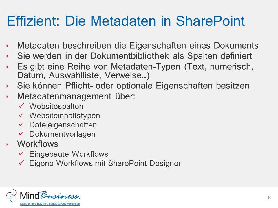 Effizient: Die Metadaten in SharePoint Metadaten beschreiben die Eigenschaften eines Dokuments Sie werden in der Dokumentbibliothek als Spalten defini