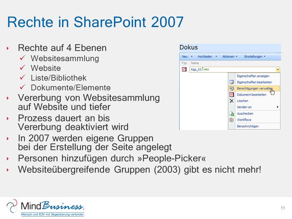 Rechte in SharePoint 2007 Rechte auf 4 Ebenen Websitesammlung Website Liste/Bibliothek Dokumente/Elemente Vererbung von Websitesammlung auf Website un