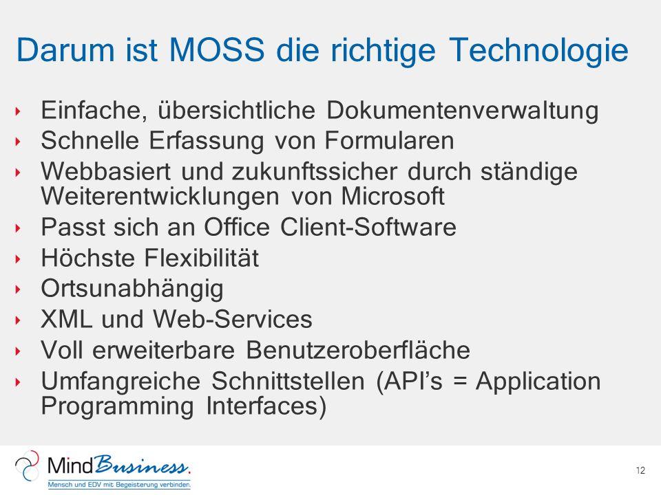 Darum ist MOSS die richtige Technologie Einfache, übersichtliche Dokumentenverwaltung Schnelle Erfassung von Formularen Webbasiert und zukunftssicher