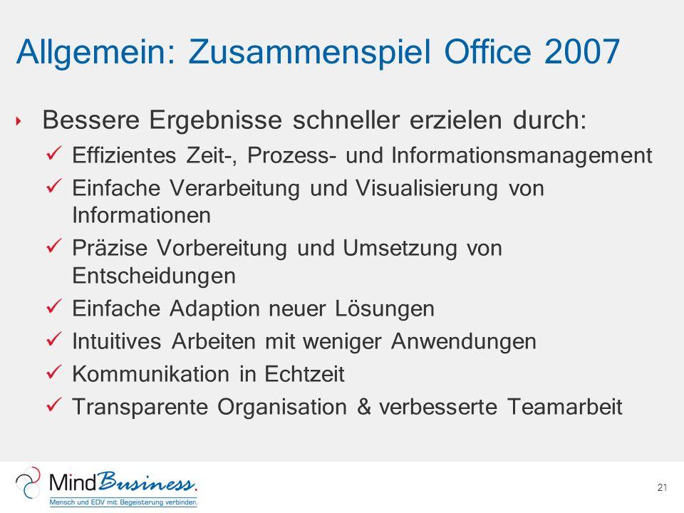 Allgemein: Zusammenspiel Office 2007 Bessere Ergebnisse schneller erzielen durch: Effizientes Zeit-, Prozess- und Informationsmanagement Einfache Vera