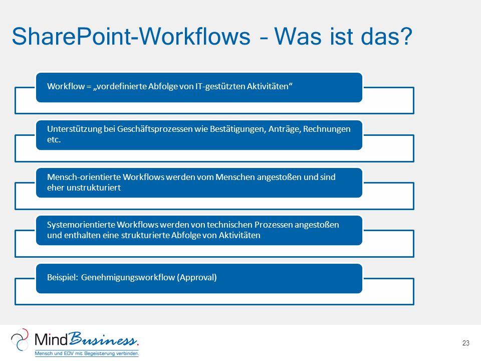 SharePoint-Workflows – Was ist das? 23 Workflow = vordefinierte Abfolge von IT-gestützten Aktivitäten Unterstützung bei Geschäftsprozessen wie Bestäti