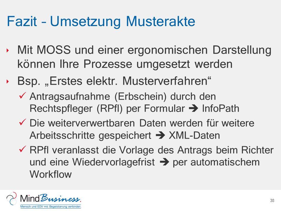 Fazit – Umsetzung Musterakte Mit MOSS und einer ergonomischen Darstellung können Ihre Prozesse umgesetzt werden Bsp. Erstes elektr. Musterverfahren An