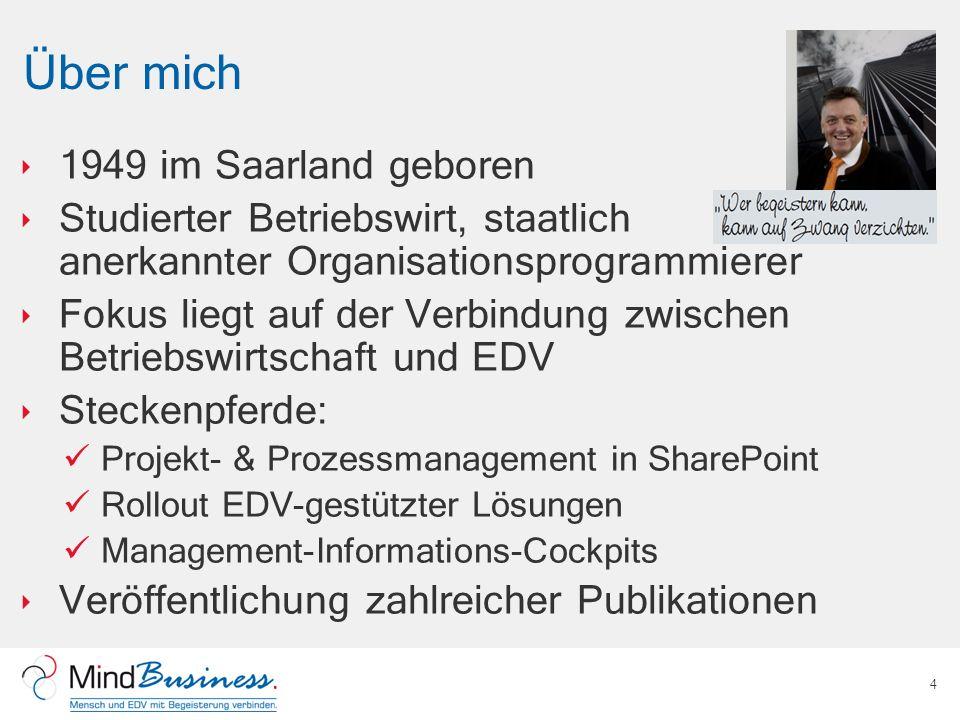 Über mich 1949 im Saarland geboren Studierter Betriebswirt, staatlich anerkannter Organisationsprogrammierer Fokus liegt auf der Verbindung zwischen B