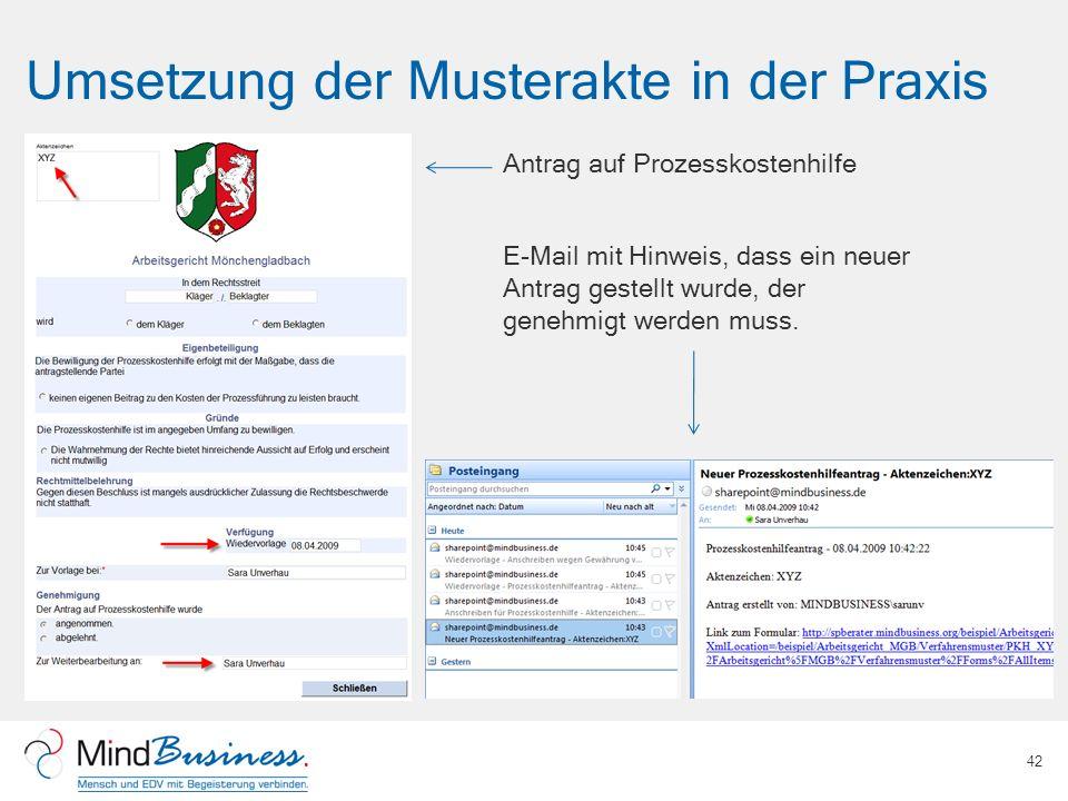 Umsetzung der Musterakte in der Praxis 42 Antrag auf Prozesskostenhilfe E-Mail mit Hinweis, dass ein neuer Antrag gestellt wurde, der genehmigt werden