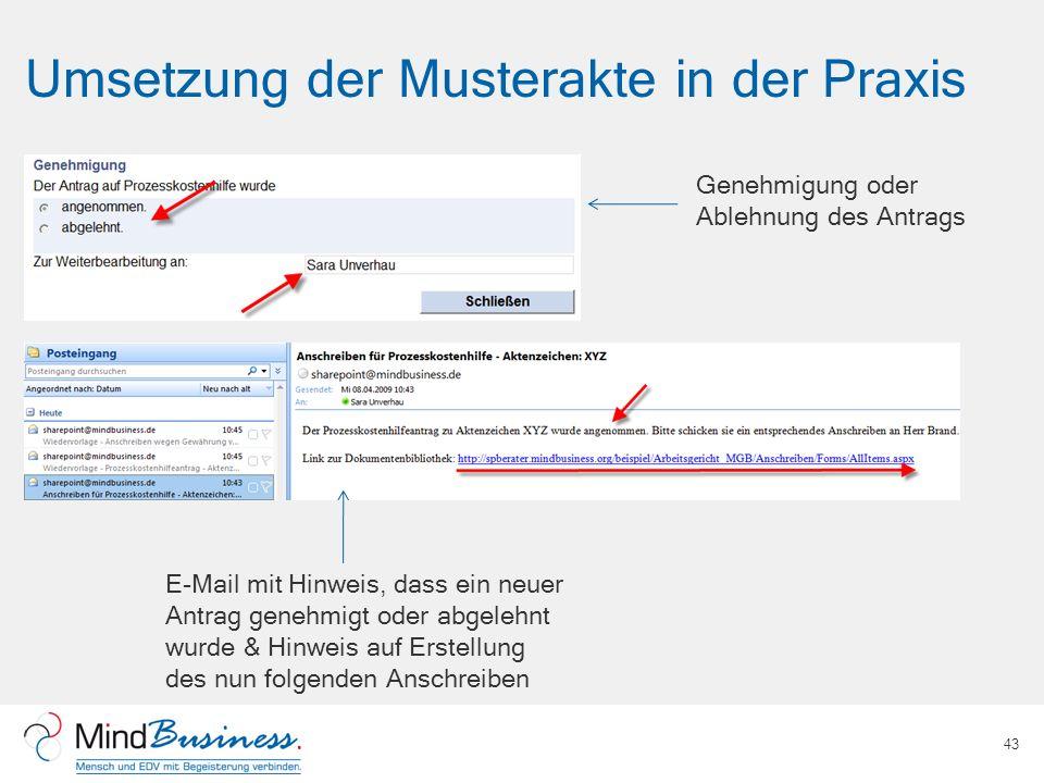 Umsetzung der Musterakte in der Praxis 43 Genehmigung oder Ablehnung des Antrags E-Mail mit Hinweis, dass ein neuer Antrag genehmigt oder abgelehnt wu