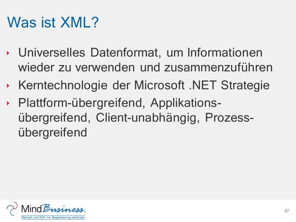 Was ist XML? Universelles Datenformat, um Informationen wieder zu verwenden und zusammenzuführen Kerntechnologie der Microsoft.NET Strategie Plattform