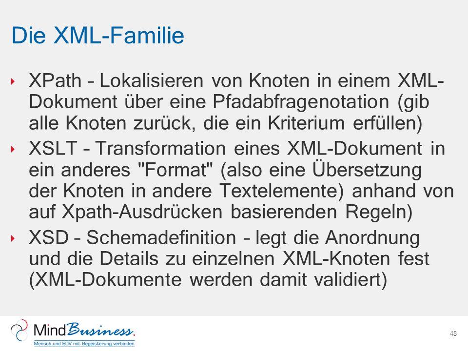 Die XML-Familie XPath – Lokalisieren von Knoten in einem XML- Dokument über eine Pfadabfragenotation (gib alle Knoten zurück, die ein Kriterium erfüll