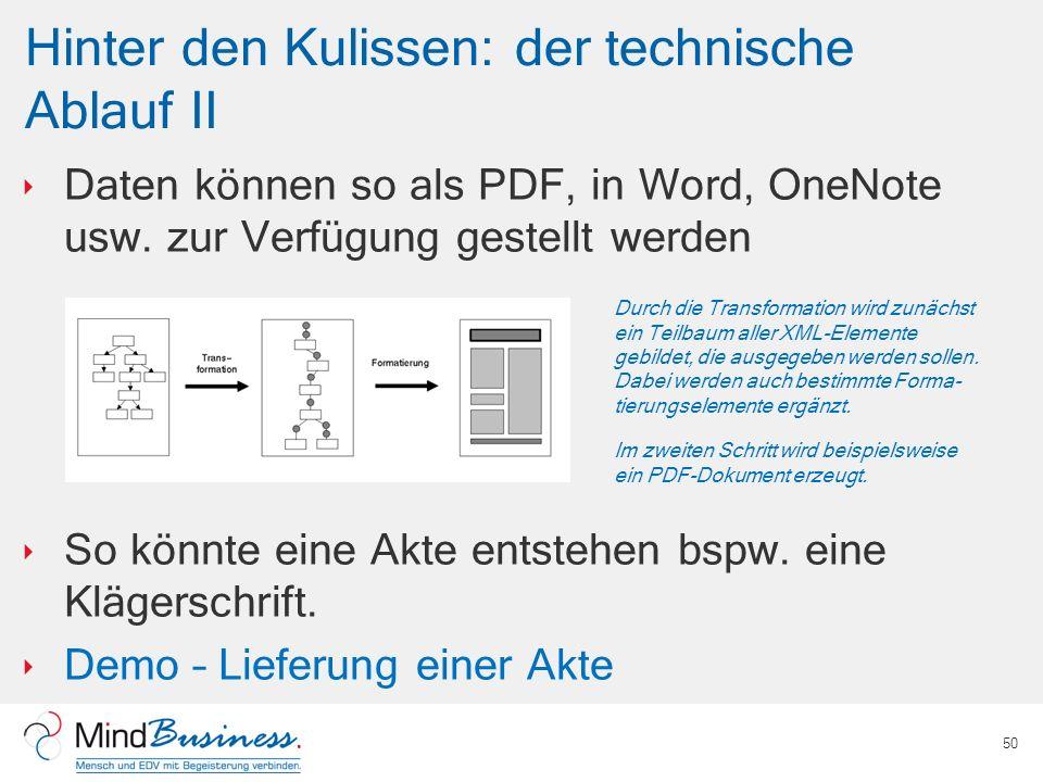 Hinter den Kulissen: der technische Ablauf II Daten können so als PDF, in Word, OneNote usw. zur Verfügung gestellt werden So könnte eine Akte entsteh