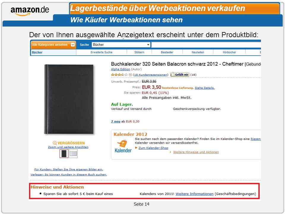 Seite 14 Lagerbestände über Werbeaktionen verkaufen Wie Käufer Werbeaktionen sehen Der von Ihnen ausgewählte Anzeigetext erscheint unter dem Produktbild: