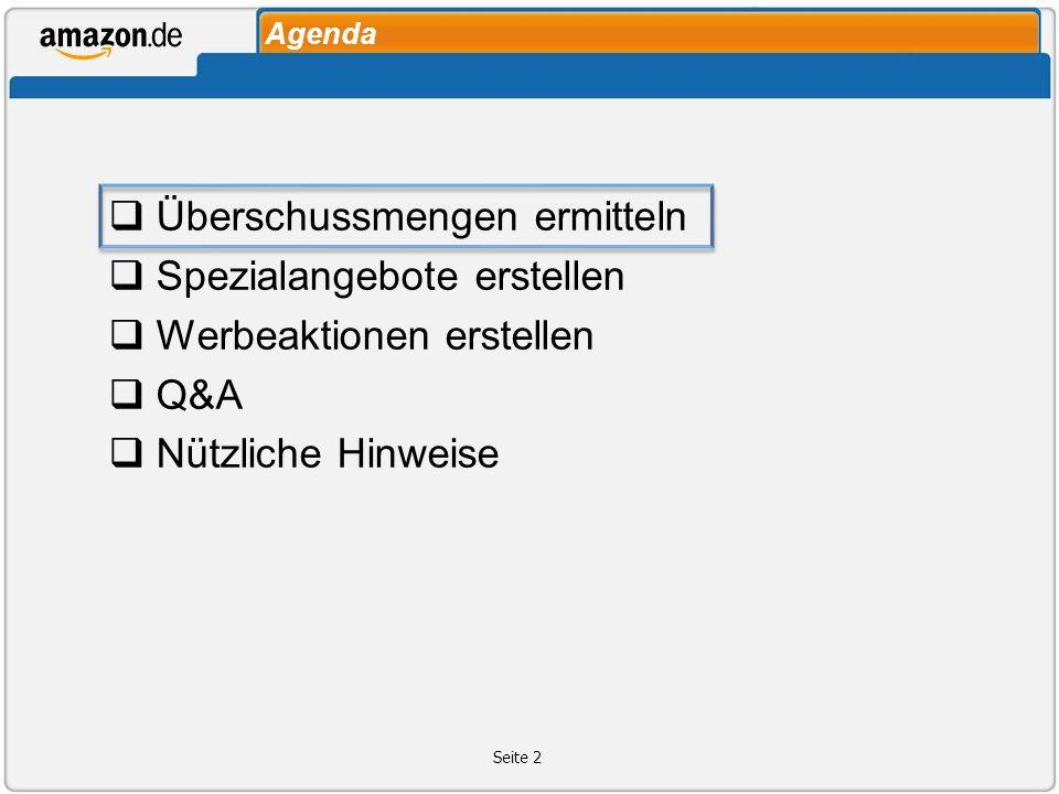 Agenda Überschussmengen ermitteln Spezialangebote erstellen Werbeaktionen erstellen Q&A Nützliche Hinweise Seite 2