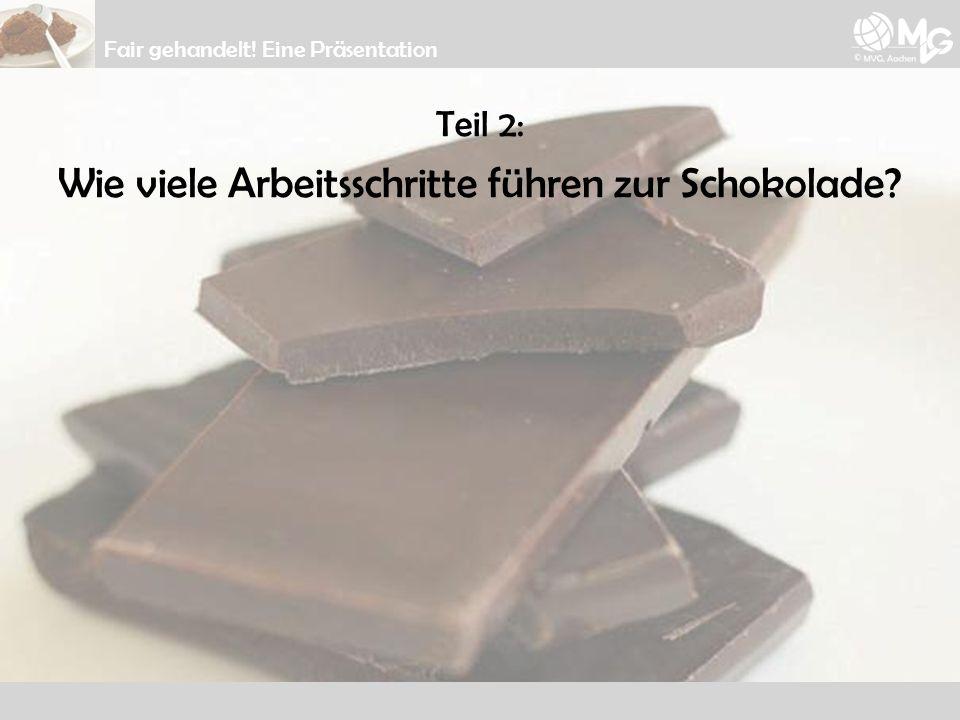 Teil 2: Wie viele Arbeitsschritte führen zur Schokolade? Fair gehandelt! Eine Präsentation