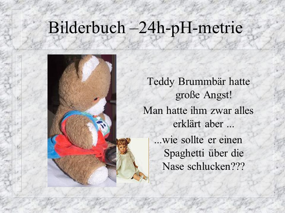 Bilderbuch –24h-pH-metrie Teddy Brummbär kommt am Tag der Untersuchung ohne Frühstück mit knurrendem Magen mit seiner Mutter und seiner Lieblingspuppe Katharina zur Untersuchung.