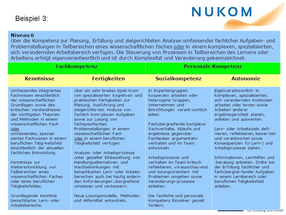 Beispiel 3: Niveau 6 Ü ber die Kompetenz zur Planung, Erf ü llung und zielgerichteten Analyse umfassender fachlicher Aufgaben- und Problemstellungen i