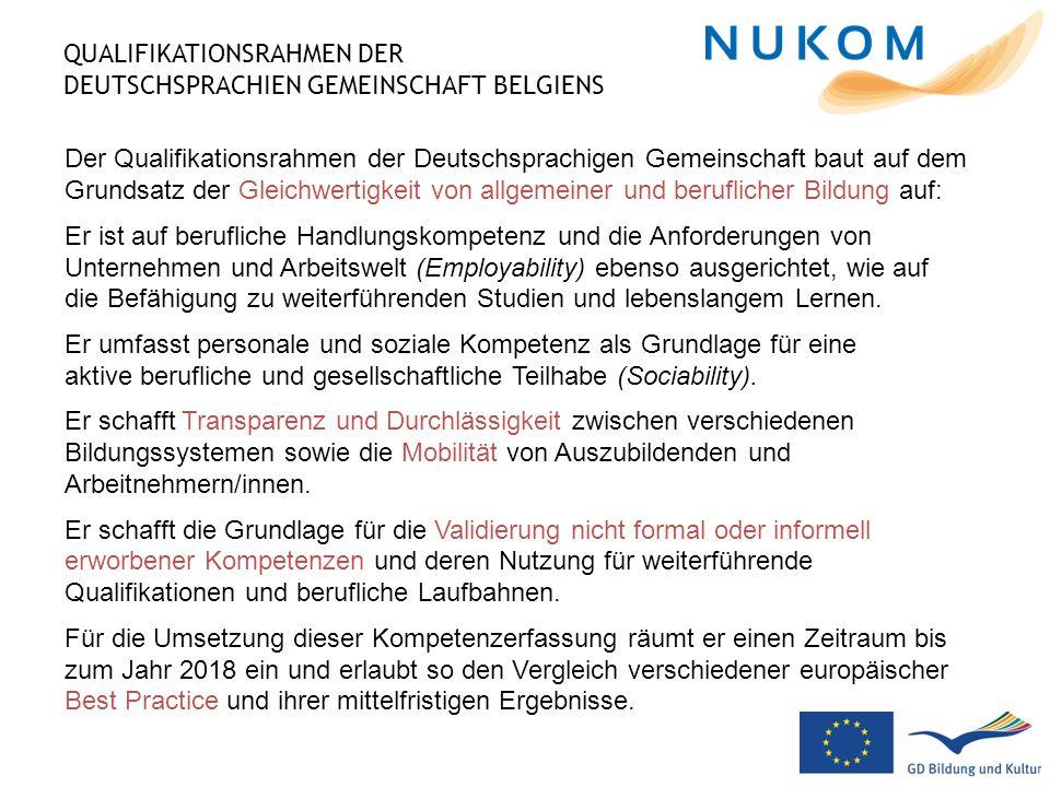 QUALIFIKATIONSRAHMEN DER DEUTSCHSPRACHIEN GEMEINSCHAFT BELGIENS Der Qualifikationsrahmen der Deutschsprachigen Gemeinschaft baut auf dem Grundsatz der