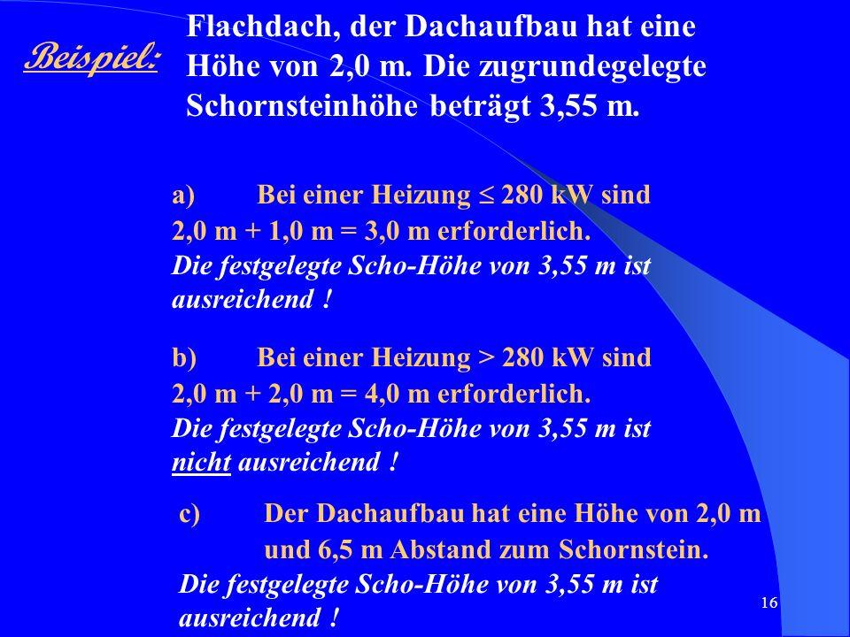 16 Beispiel: Flachdach, der Dachaufbau hat eine Höhe von 2,0 m. Die zugrundegelegte Schornsteinhöhe beträgt 3,55 m. a)Bei einer Heizung 280 kW sind 2,