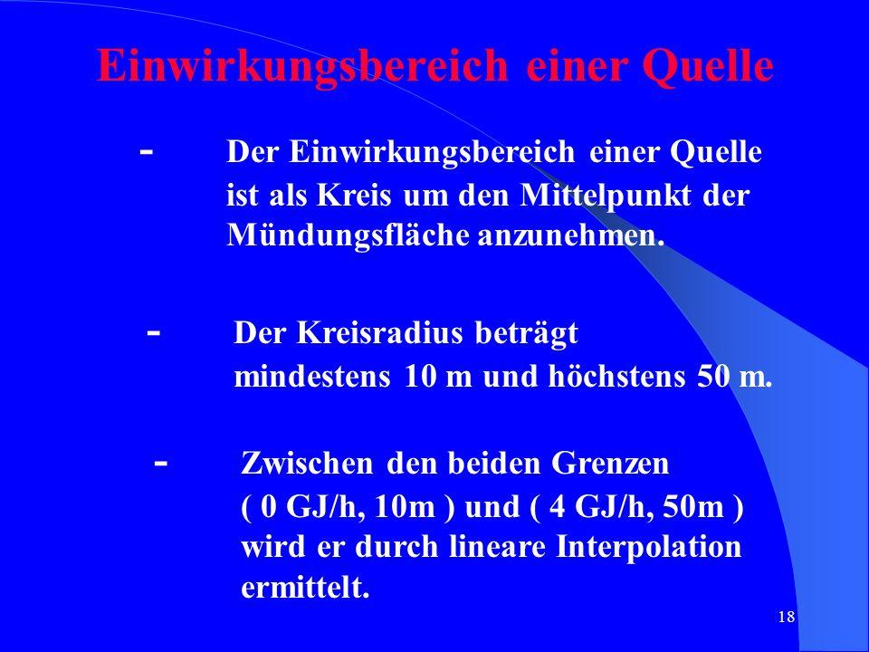 18 Einwirkungsbereich einer Quelle - Der Einwirkungsbereich einer Quelle ist als Kreis um den Mittelpunkt der Mündungsfläche anzunehmen. - Der Kreisra