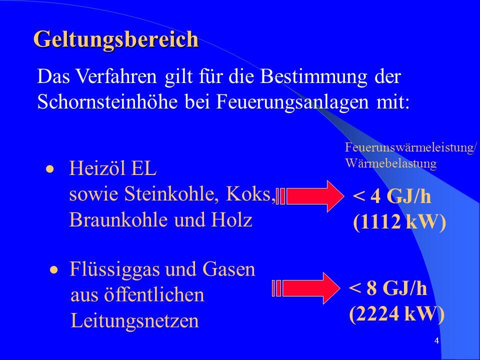 4 Geltungsbereich Das Verfahren gilt für die Bestimmung der Schornsteinhöhe bei Feuerungsanlagen mit: Heizöl EL sowie Steinkohle, Koks, Braunkohle und