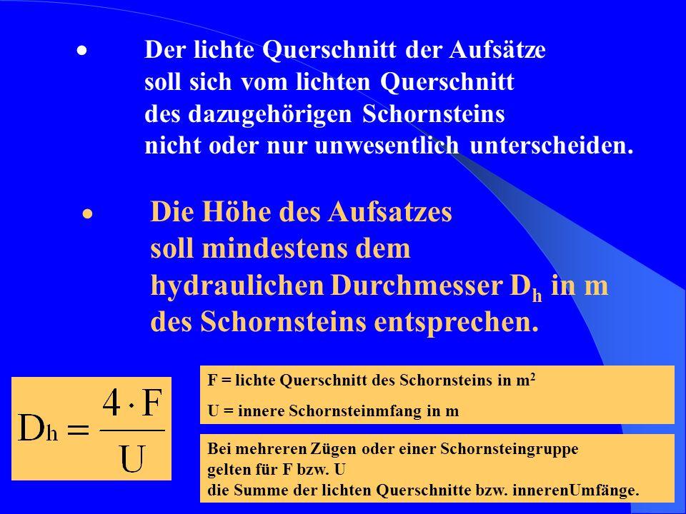 8 Der lichte Querschnitt der Aufsätze soll sich vom lichten Querschnitt des dazugehörigen Schornsteins nicht oder nur unwesentlich unterscheiden. Die